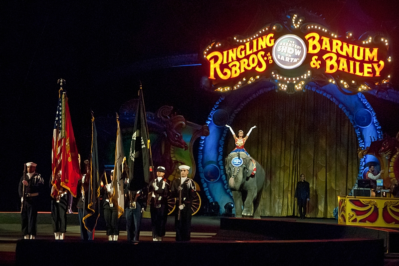 The opening of the Ringling Bros. and Barnum & Bailey Circus in their salute to veterans at the Jacksonville Veterans Memorial Arena.