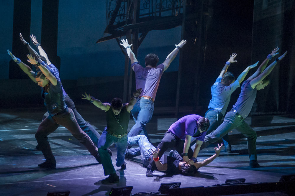 The Jets and The Sharks rumble on stage as the Broadway Touring Company performed West Side Story at the McCain Auditorium at K-State University.