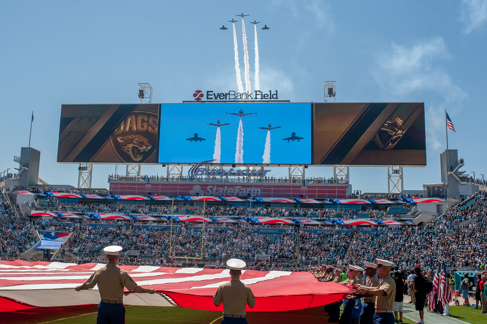 The military flyover at the start of the Jaguars game as they take on the Indianapolis Colts for the first home game of the season.