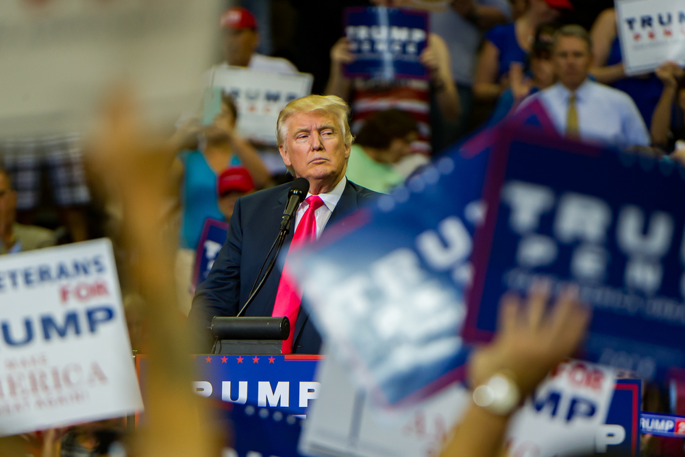 Presidential candidate Donald Trump addresses his supporters at his campaign stop at the Jacksonville Veterans Memorial Arena on Wednesday, August 3, 2016.