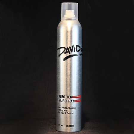 Aero-Tec Hairspray (10z) Fast drying, flexible fixative with exceptional hold.  Humidity resistant and easy to brush through leaving no sticky residue or build up even after respraying.