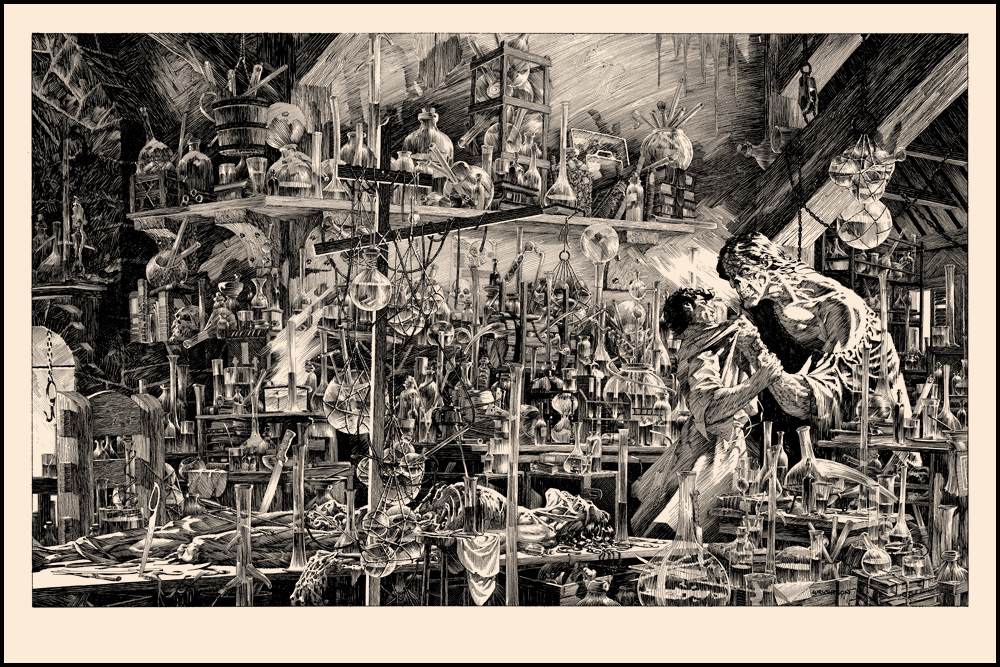 "Tim Doyle released a 9 run series of Bernie Wrightson Frankenstein prints. I subscribed to the series and received all of the and they do not disappoint! The fine detail in some of these prints are on a whole other level! The exclusive print Perished on the Scaffold is chilling.   Artist: Bernie Wrightson Size: 36""x24"" Printed by:  Details: 130lb Cougar Natural Cover Run size: 200"