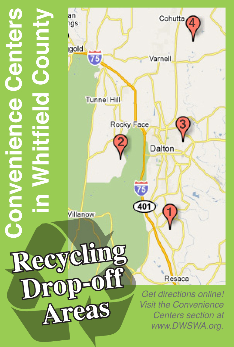 The Dalton-Whitfield Solid Waste Authority has four staffed Convenience Centers in Whitfield County, Georgia.  Residents can drop-off the majority of household garbage and  recyclables for free.