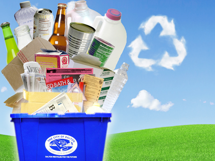 They include paper, cardboard, aluminum cans, bi-metal cans, glass bottles and jars, and plastic bottles and jugs.