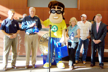 The City of Dalton Curbside Recycling program was recognized for recycling 2,532,120 lbs. in 2011. Pictured are Norman Barashick, Executive Director, Dalton-Whitfield Solid Waste Authority, Benny Dunn, Executive Director, City of Dalton Public Works, Recycling Ben, mascot and recycling representative, Denise Wood, City of Dalton Councilwoman, Jimmy Step, Curbside Recycling Driver, David Pennington, City of Dalton Mayor.