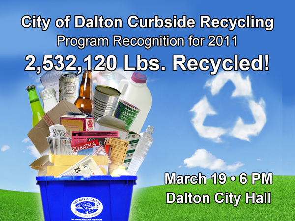 The City of Dalton Curbside Recycling program accepts a variety of products for recycling.  They include paper, cardboard, aluminum cans, bi-metal cans, glass bottles and jars, and plastic bottles and jugs.