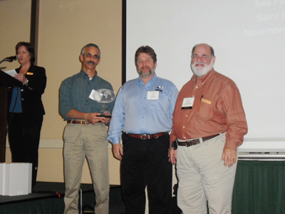 Pictured are Norman Barashick, Jeff Cown, and Harvey Levitt.  Cown presented the award for Outstanding Recycling Program to the DWSWA during the SWANA-GA Fall Conference.