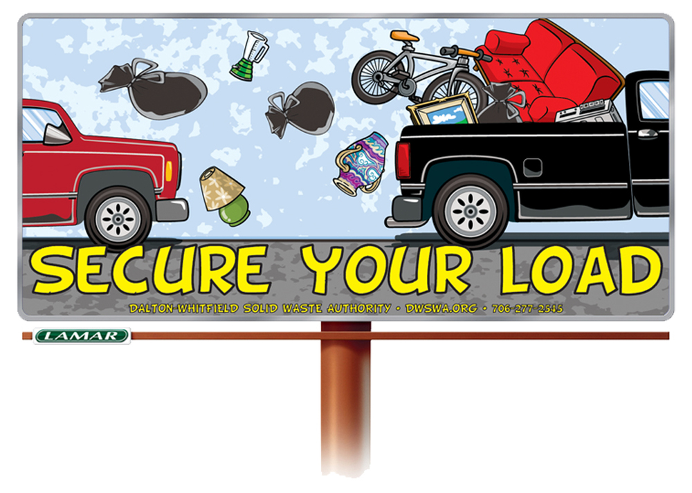 The Dalton-Whitfield Solid Waste Authority launched this educational campaign in July 2012 to encourage residents to secure their loads. Especially those visiting local Convenience Centers and the landfill. Loose loads are sources of litter on the road, but can also be very dangerous to other motorist. It doesn't take much time, effort, or money to make sure your load is properly secured.