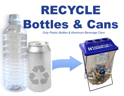 "Click the picture above to Download and Print the mini poster ""Recycle Bottles & Cans"" and post on or near the Away From Home Containers."