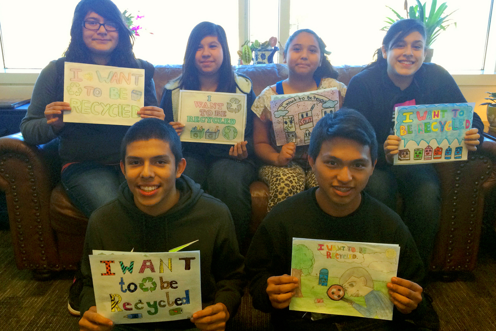 Eastbrook Middle School students who placed in the billboard contest are pictured with their artwork. Top Row, Left to Right: Graviela Zamora, Citlally Garcia, Angela Torres, and Reina Paniagua. Bottom Row, Left to Right: Luis DeLeon, and Moises Gaspar.