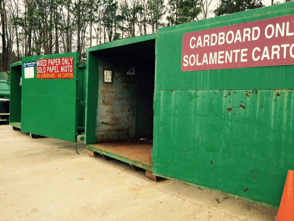 Mixed paper and cardboard drop-off containers at the Mcgaughey chapel location.  cardboard boxes must be flattened or broken down before going into the container.