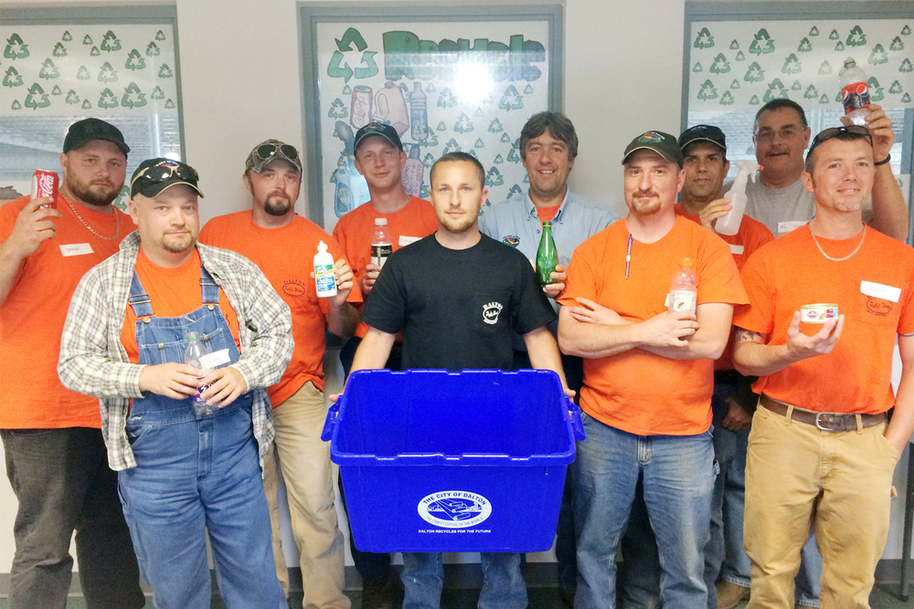City of Dalton Public Works department staff members who work with the curbside recycling program encourage residents to recycle right.  Pictured from Left to Right, Top Row: Shawn White, Jamie Stepp, Danny Sluder, Dwayne Carvell, Ruben Valencia, and Tim Cruse. Bottom Row: John Gowin, Jonah Riddle, Wesley Webb, and Jason Davis.