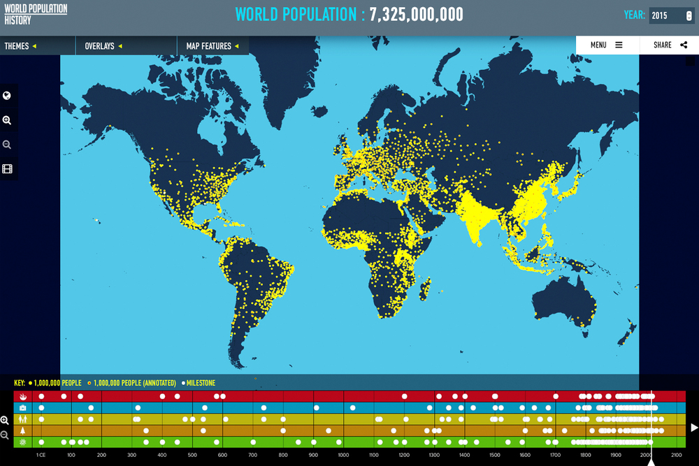 An interactive map at www.WorldPopulationHistory.org demonstrate how the world population has exploded over the last 300 years. The increase in human population is challenging the carrying capacity of the planet.