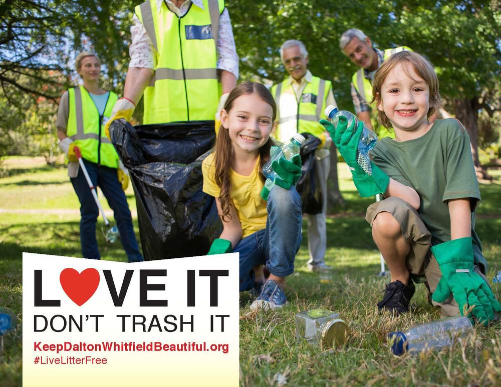 """Love it. don't trash it"" is the anti-litter educational campaign from Keep Dalton-Whitfield Beautiful. This is a sample image of what an ad may look like."