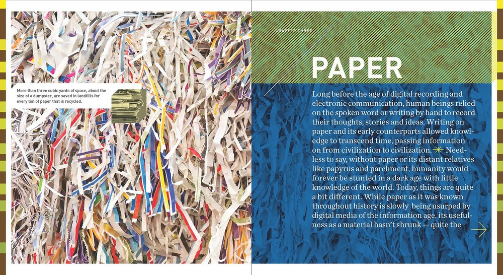 "Can garbage really be great? The new book ""Make Garbage Great"" challenges us to see garbage as a valuable resource not waste. Pictured is the opening spread for the chapter about paper."