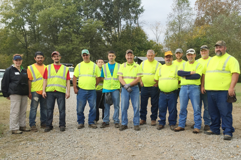 Whitfield County Public Works staff and volunteers at Prater's Mill where participants removed litter along Coahulla Creek which feeds into the Conasauga River.