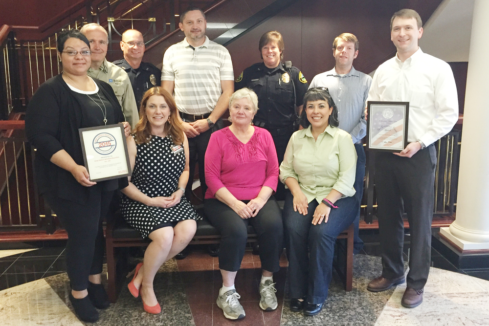 Pictured are several Keep Dalton-Whitfield Beautiful board members with the awards. Front row (left to right): Hailey Delatorre, Shell Underwood, Patricia Edwards, Liz Swafford, and Aaron Marcelli. Top row (left to right): Phillip Pfeifer, Chris Cochran, Joe Thomas, Jennifer Jefferies, Anthony Cline.