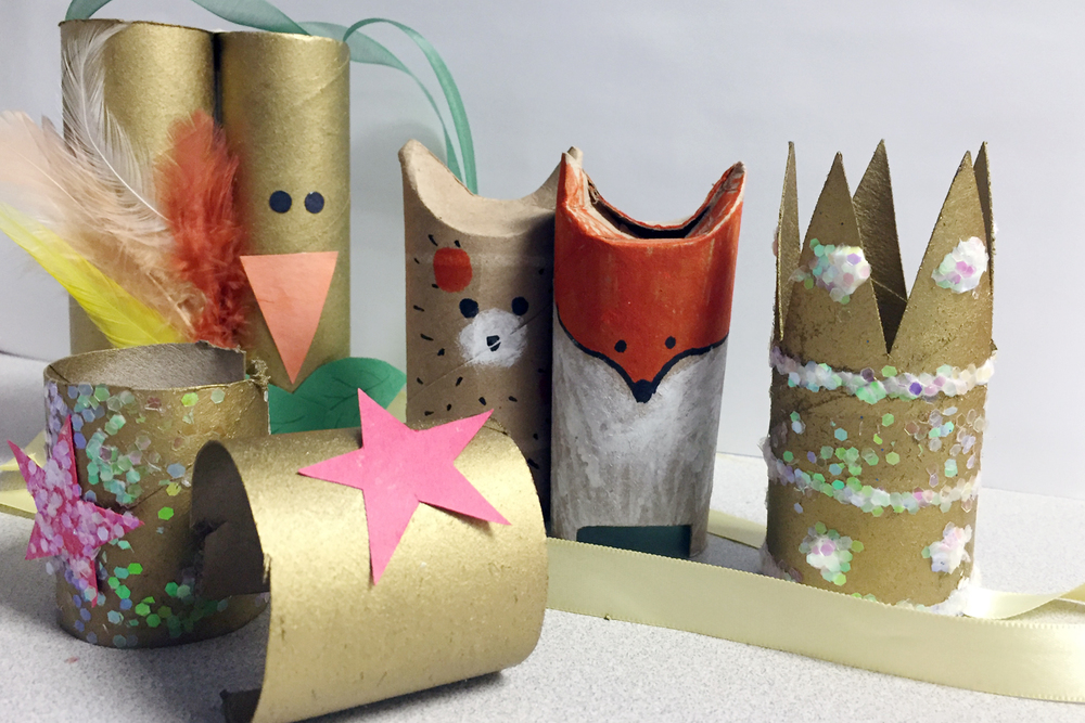 Transform your paperboard tubes into fun toys like binoculars, animals, crowns, or superhero bracelets.