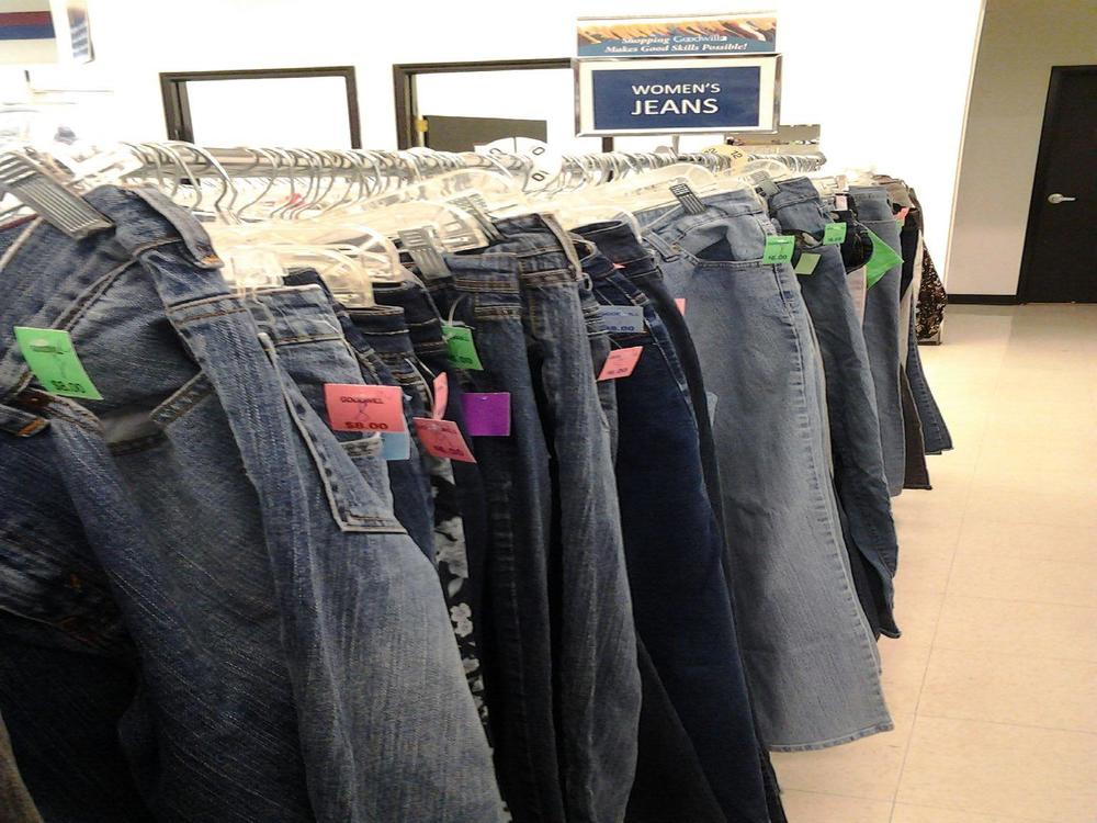 Buying gently used clothes from a thrift store may help a local charity, and keeps textile waste out of the landfill.