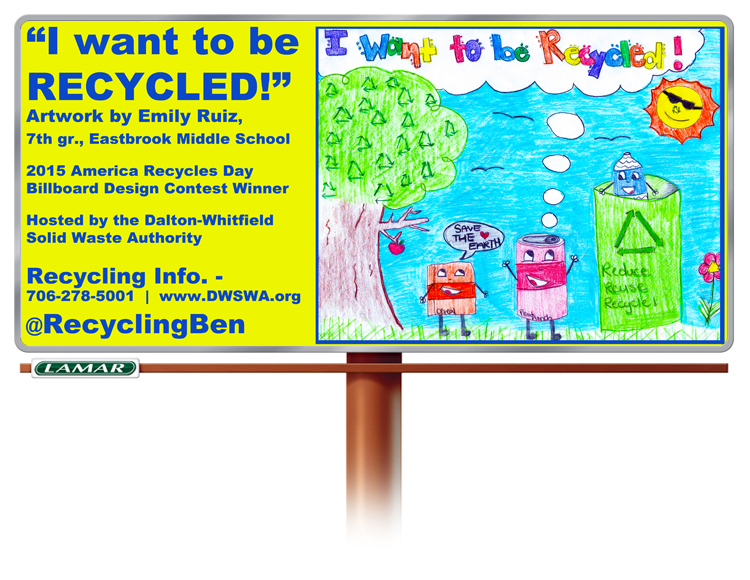 The 7th Annual America Recycles Day Billboard Design Contest is underway. Pictured is the winning design for 2015 designed by Emily Ruiz, a 7th grader from Eastbrook Middle School.