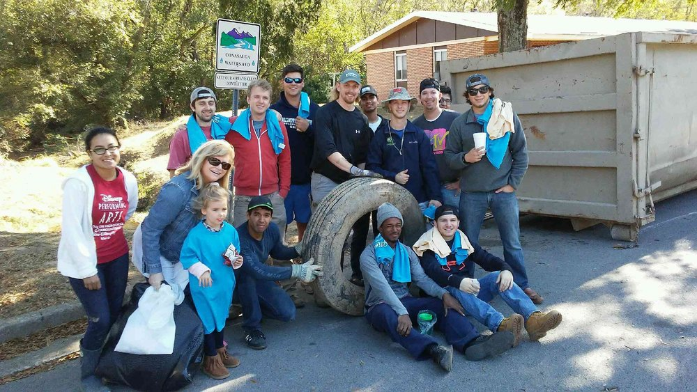 Volunteers at Mill Creek Tributary and Underwood Apartments in Dalton removed more than two-thousand pounds of litter and illegally dumped tires from the watershed during Make a Difference Day.