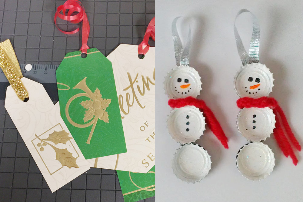Make the holidays a little greener by using repurposed materials like bottle caps and old greeting cards to make ornaments and gift tags.