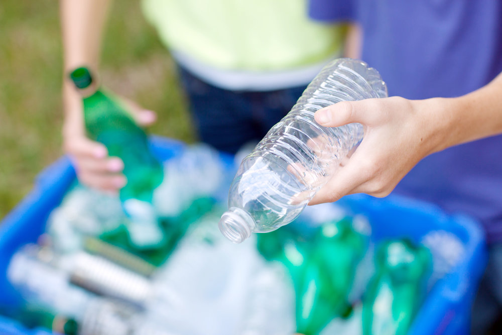 Plastic bottles and jugs can actually be recycled with the bottle cap screwed on. And, it's ok to leave the label on the outside of the bottle too. Just make sure the bottle or jug is empty.