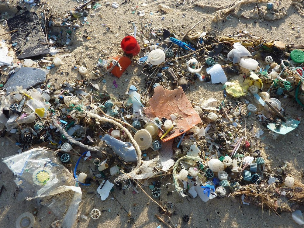 This plastic debris washed up on a beach most likely originated on land. Plastic does not decompose like organic materials leaving plastic in the ocean to slowly breakdown over a span of years.