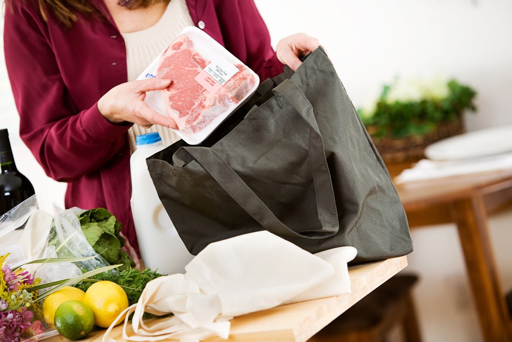 Replacing plastic shopping bags with reusable ones can help reduce the amount of waste you make. If you do use a plastic bag, don't forget to recycle it at the retail location you received it.