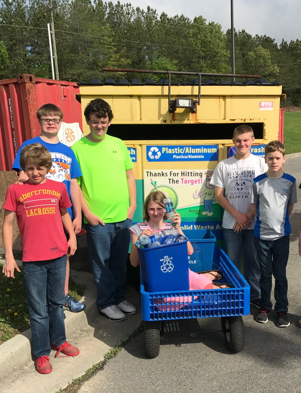 New Hope Middle placed first in the middle school category in this year's recycling contest hosted by Target Recycling. Pictured from Left to Right in front of the plastic bottle and aluminum can recycling container are students Ea-on Payne, Tate Marti, Zachary Amos, Brenna Ledlow, Jarod Holcomb, and Daniel Brackett who are members of the Recycling Crew.