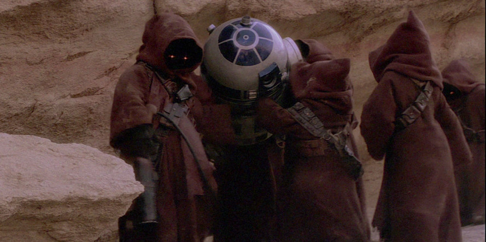 A clan of Jawas capture R2D2 with intentions of selling him for parts, or possibly recycling him. Star Wars provides several examples of how resources were recovered and reused.