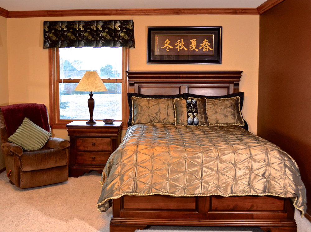 Custom duvet cover, shams, and accent pillow with coordinating valance
