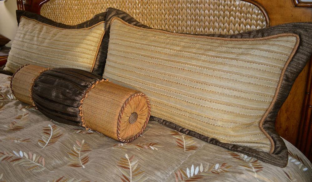 Custom roll pillow and shams