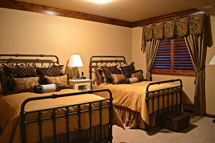 Custom Duvet covers, pillows and ruffled bed skirt with cooridinating drapery
