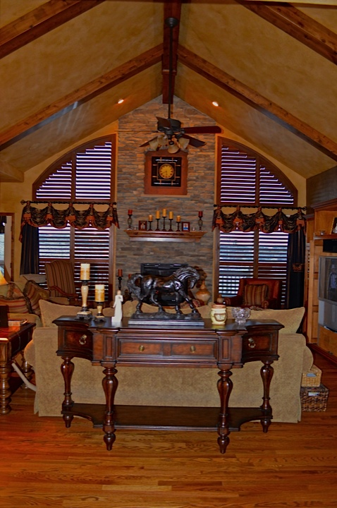Furniture, Old World faux glaze on walls, custom drapery