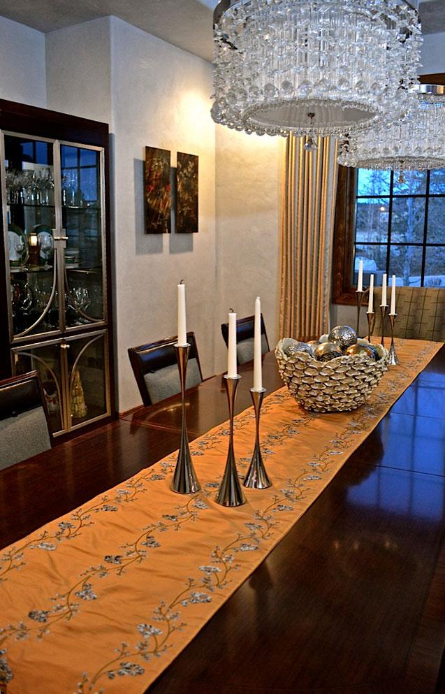 Custom table runner, accessories, Metallic art for walls
