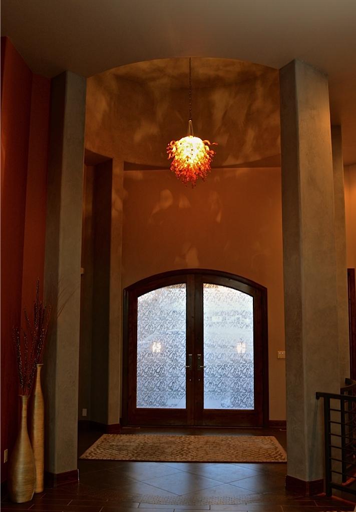 Modern glass entry light added