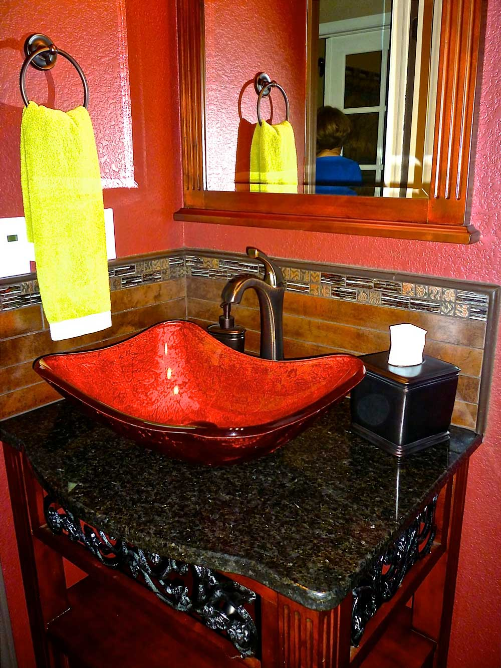 Ceramic Pedestal removed, new pedestal sink added, tile splash, new faucet