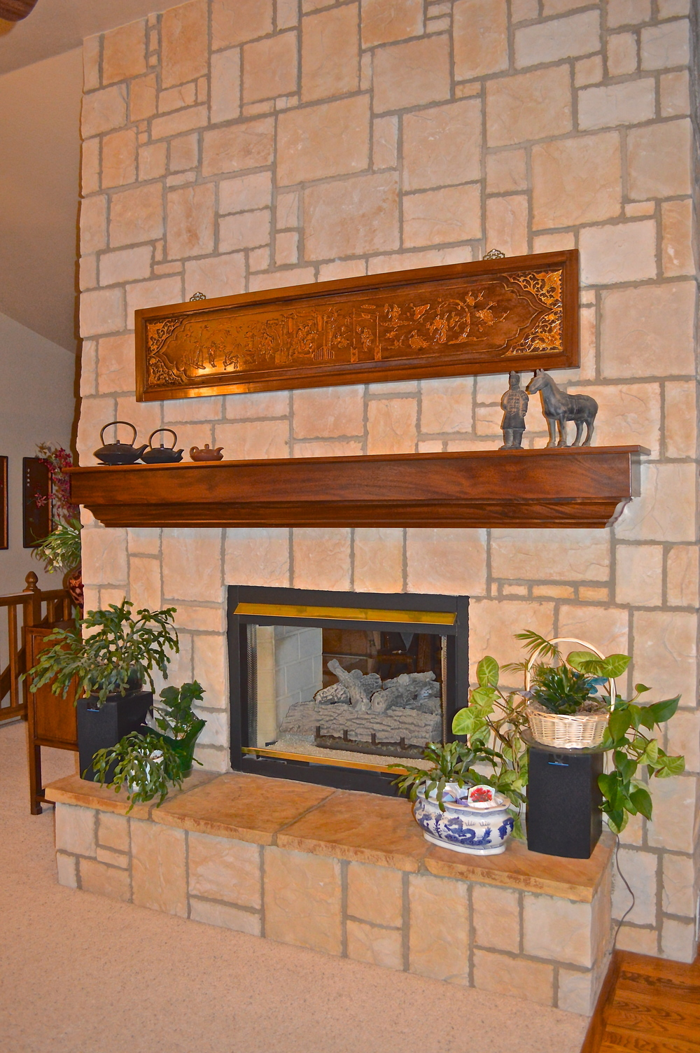 Custom Mantel to match antique Chinese wood panel