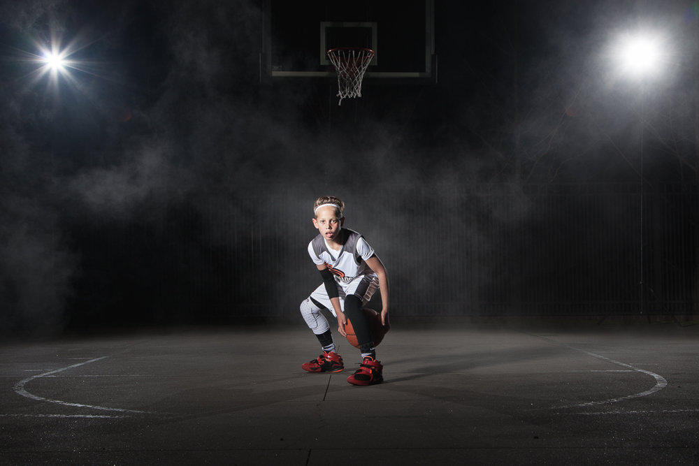 Lights, haze, and sports magic at this recent child portrait session.