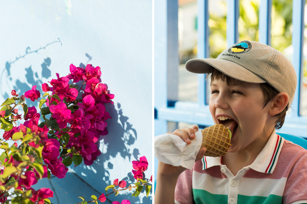 lifestyle image of a young boy eating ice cream