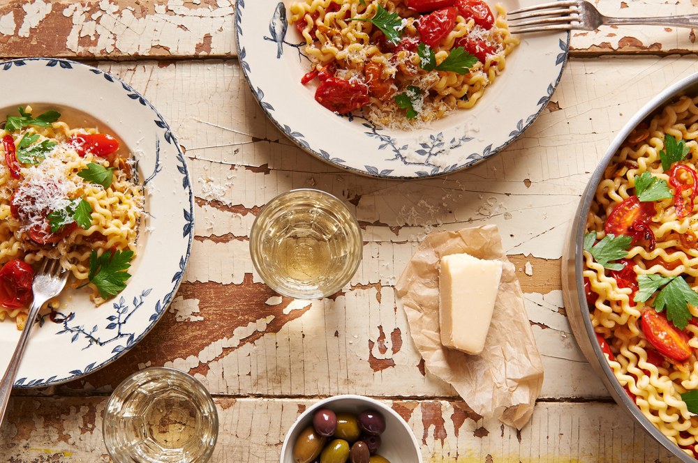 food photography of Italian pasta and wine
