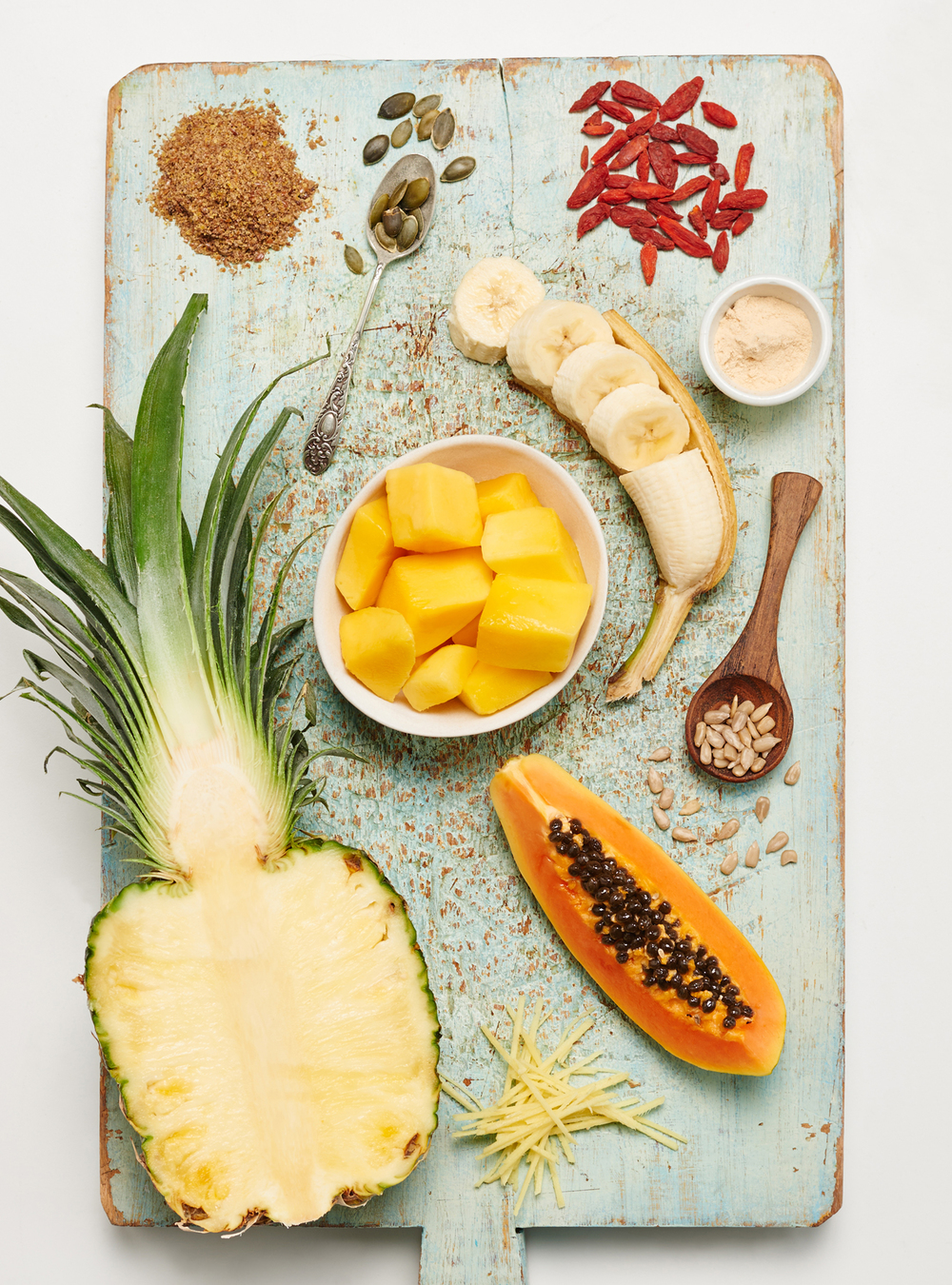 food photography of smoothie ingredients