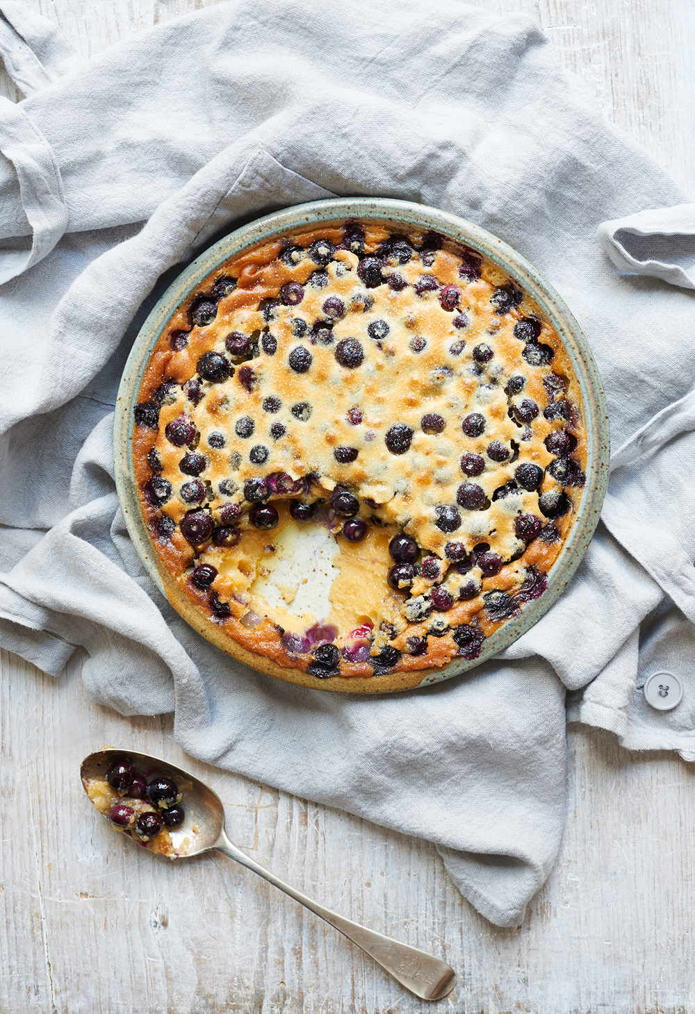 blueberry clafoutis cookbook photography