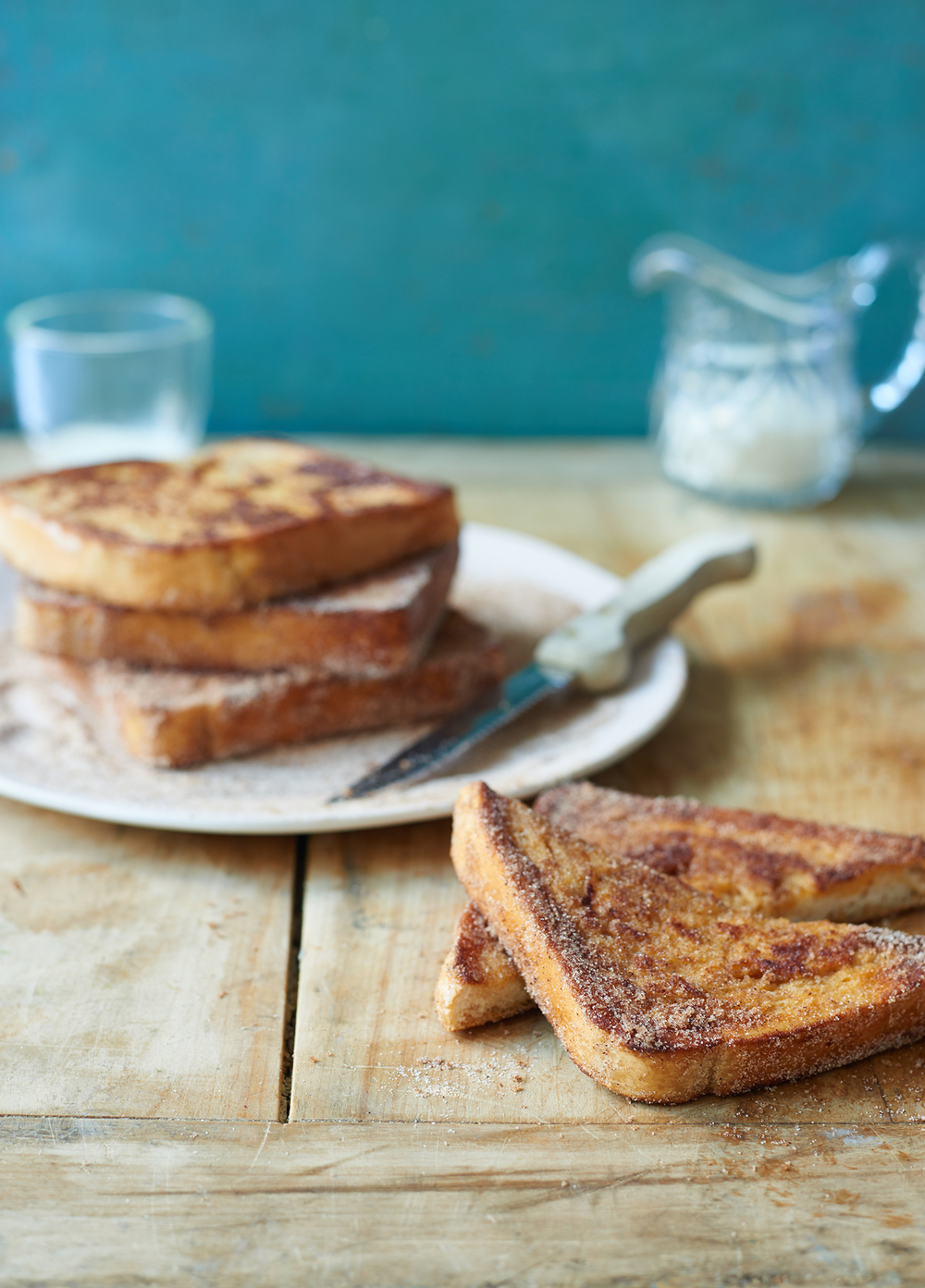 cinnamon french toast on a wooden surface