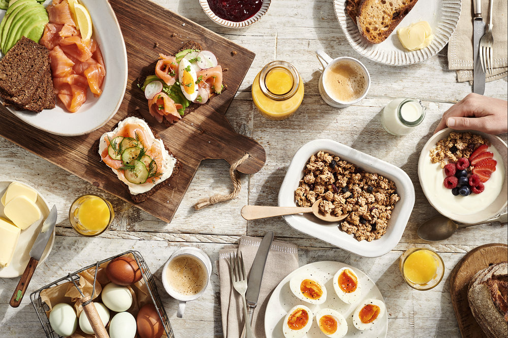 Scandinavian breakfast flatlay food photography