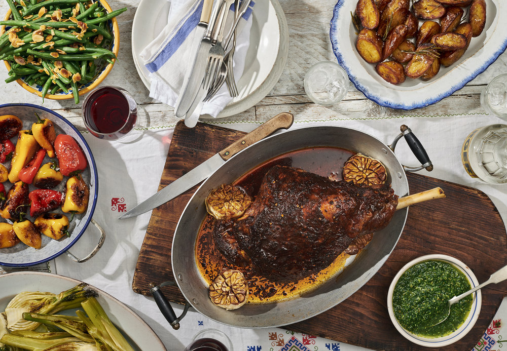 Spanish roast lamb dinner by London food photographer Holly Pickering