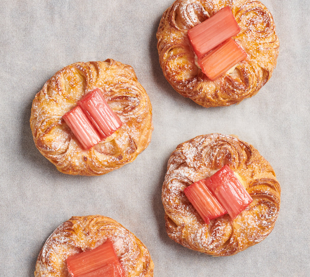rhubarb danish pastries photographed by Holly Pickering