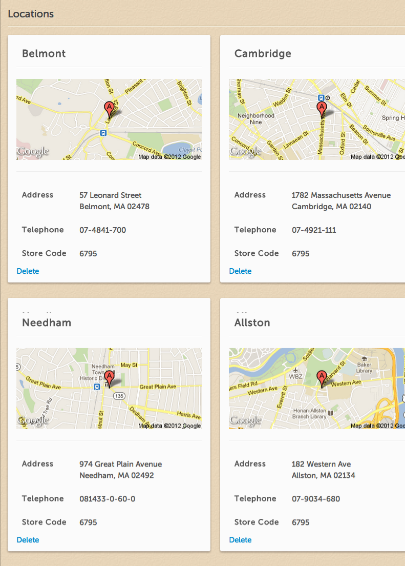 Dashboard- Multiple Locations