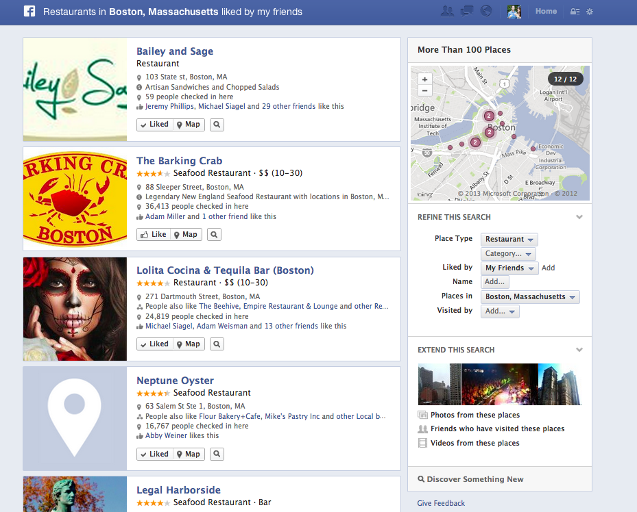 Sample Facebook Graph Search results